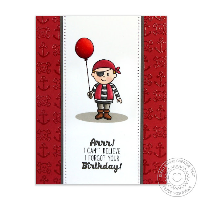 Sunny Studio Stamps Pirate Pals Belated Birthday Card by Mendi Yoshikawa
