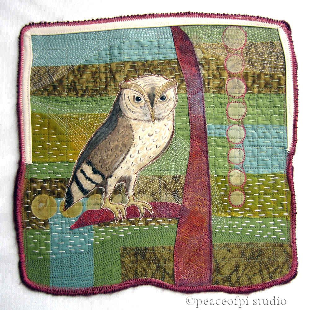 Peaceofpi Studio Owl Bird Art Quilt In Paint And Stitch