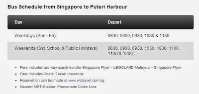 Bus Schedule from Singapore to Puteri Harbour