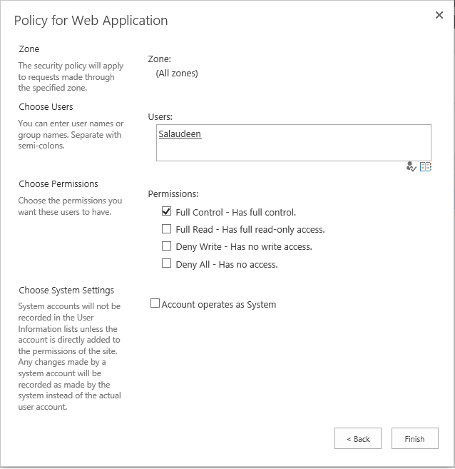 Add Web Application User Policy using PowerShell in SharePoint