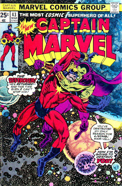 Captain Marvel v2 #43 marvel 1970s bronze age comic book cover art by Bernie Wrightson