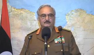 حفتر يأمر بالتصدي لأي قطعة بحرية تدخل المياه الليبية بدون تصريح