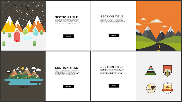 Flat Design Mountains Section Title PowerPoint Template Slide 13-16