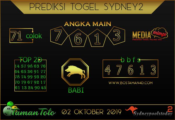 Prediksi Togel SYDNEY 2 TAMAN TOTO 02 OKTOBER 2019