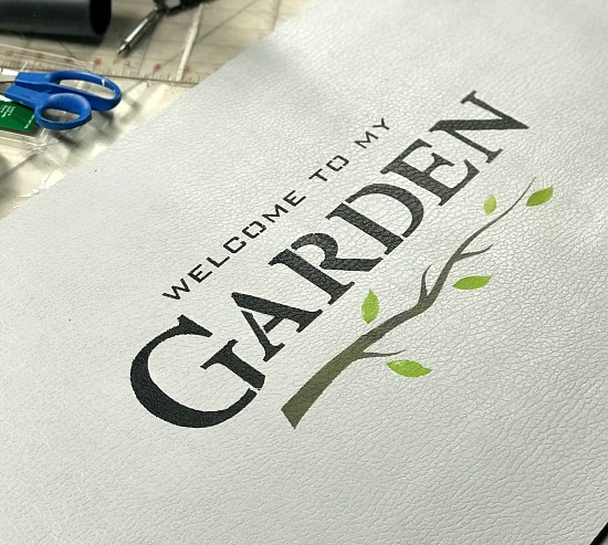 A garden stenciled bathroom mat