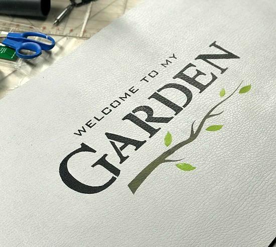 stenciled garden mat