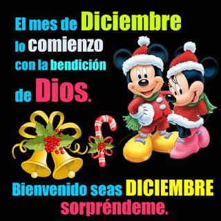 postales Micky navidad con mensajes Bienvenido Diciembre