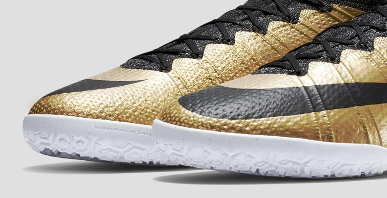 1c08485db659 The new gold Nike Mercurial X Proximo 2015 Indoor and Turf Soccer Shoes  introduce a stunning design