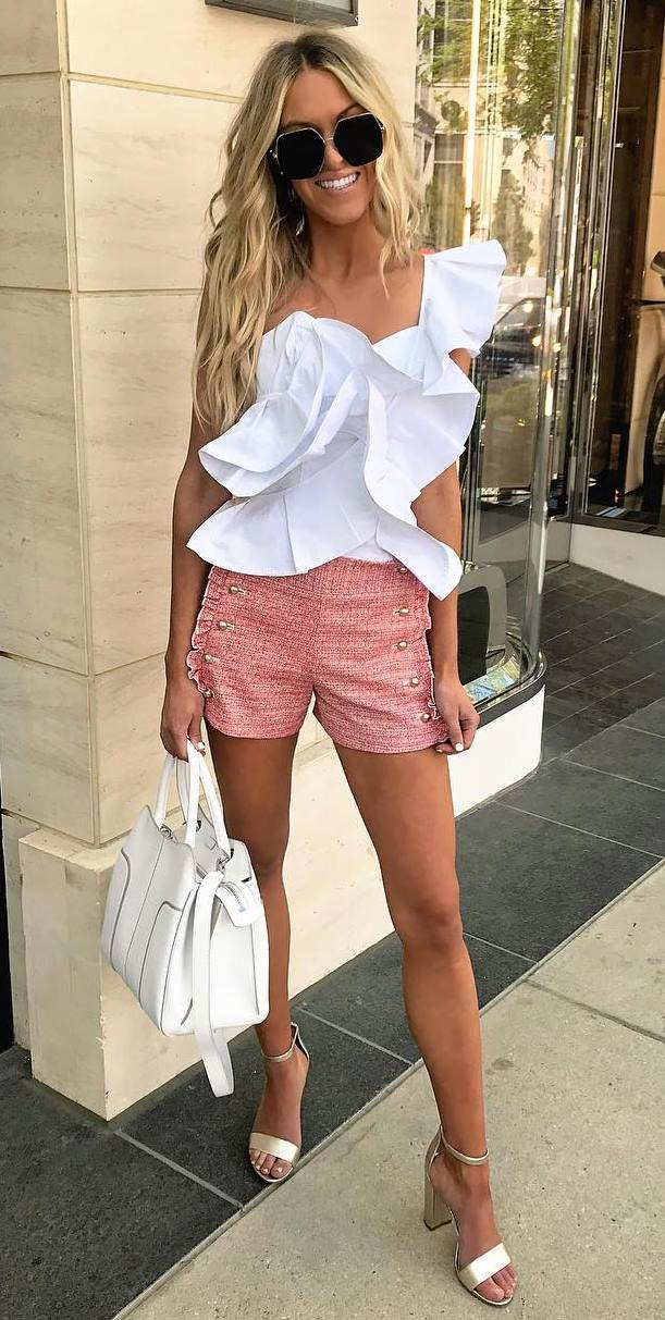 cool summer outfit / white one shoulder ruffle top + bag + shorts + heels