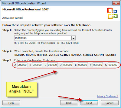 Microsoft Office Student 2007 Telephone Activation Code