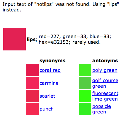 Color thesaurus query result for