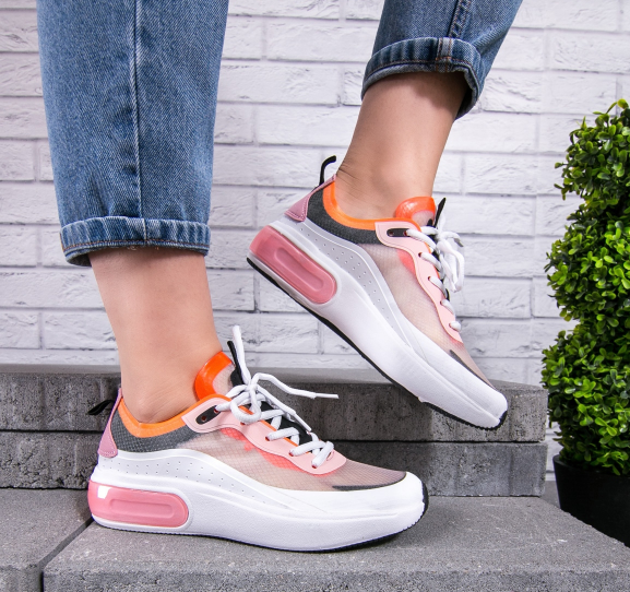 Pantofi sport dama albi cu roz cu platforma