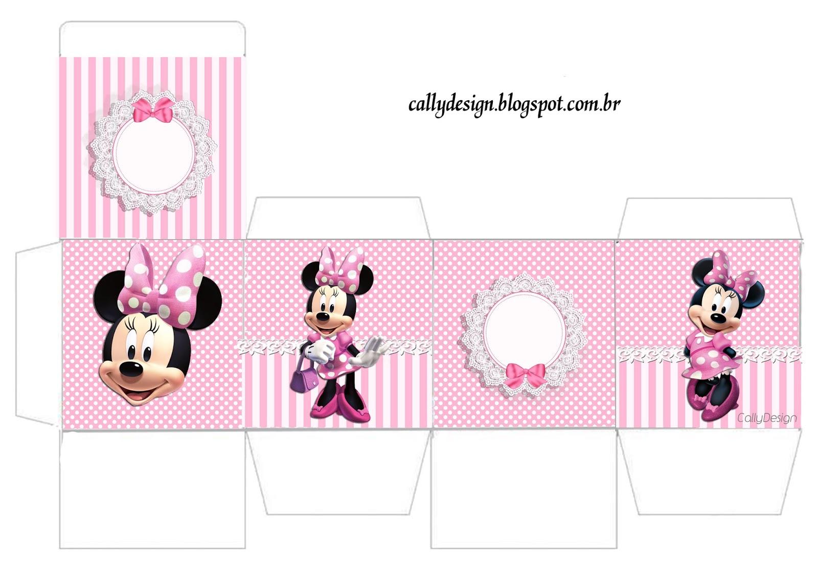 caixa cubo minnie rosa