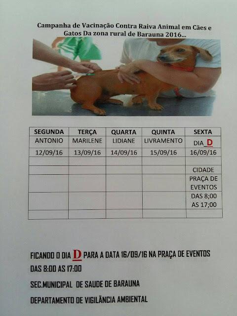 Campanha Nacional de vacinação contra raiva animal começa dia 12 em Baraúna