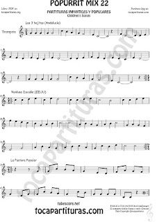 Partitura de Trompeta y Fliscorno  Yankee Doodley, Las 3 hojitas, La Pastora Popurrí Mix 22 Sheet Music for Trumpet and Flugelhorn Music Scores