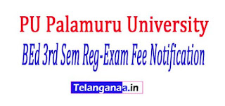 PU Palamuru University BEd 3rd Sem Regular Exam Fee Notification 2017