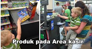 Produk pada Area kasir adalah salah satu trik untuk membuat belanja lebih banyak