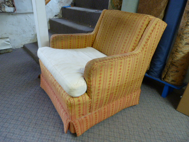 This Small Efficient Little Skirted Club Chair Sure Has Lots Of Detail To  It And The Arm Tops Has A Nice Style. This Is Solid Wooden Frame Is Just As  Tight ...