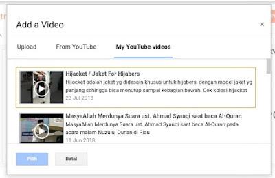 Upload video youtube  ke blog