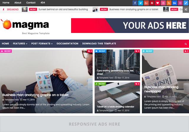 Magma Mobil Uyumlu  Blogger Teması