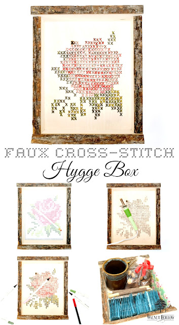 Faux Cross-Stitch Hygge Box Tutorial Featuring Wood Burning and Distress Markers by Dana Tatar for Walnut Hollow