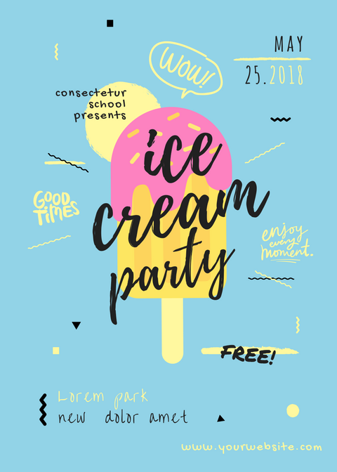 Ice Cream Party Flyer Design Idea