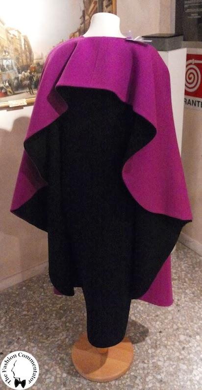 Valentina Cortese - Mostra Milano - Roberto Capucci cape and dress