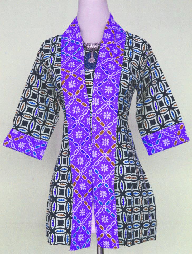 7 Model Baju Batik Kantor Kombinasi