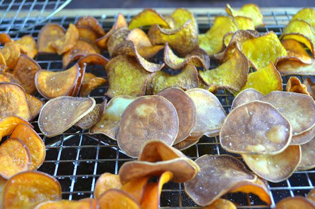 A variety of root veggies made into homeade kettle chips