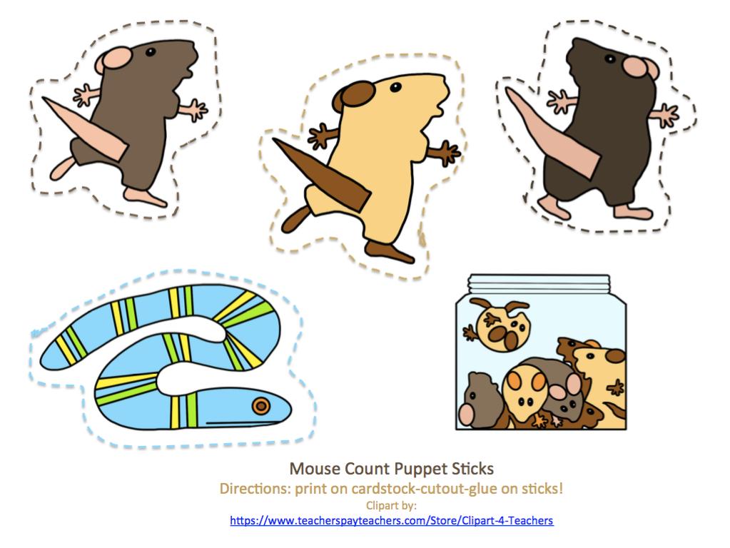 Free Mouse Counts Puppet Sticks Preschool Printables