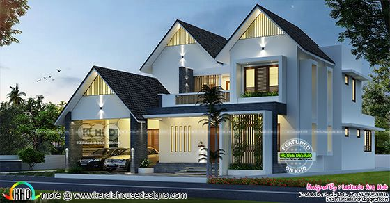 Sloping roof western model home design