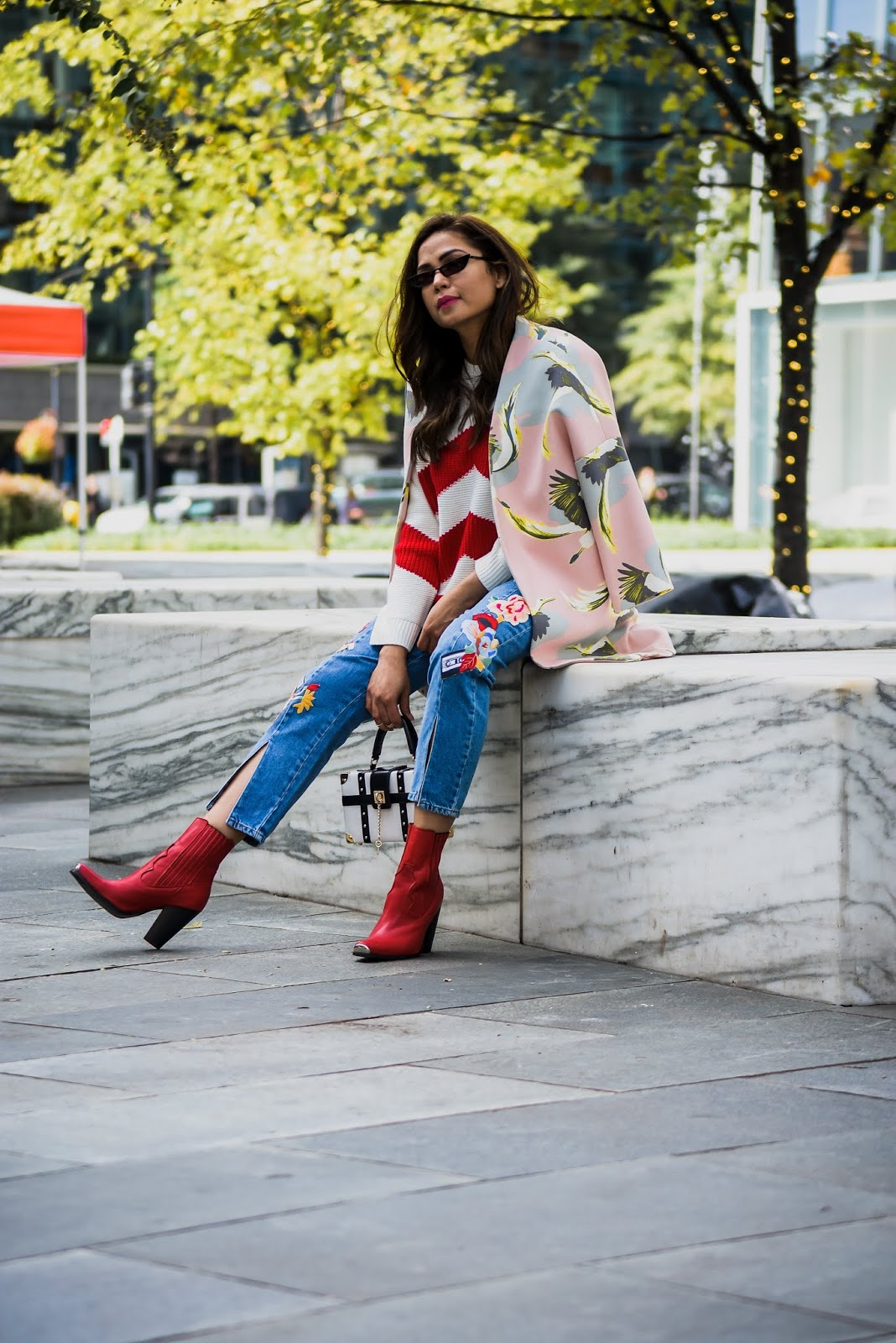 embroidered jeans outfit, red, white and blue, red western boots, dove print coat, skinny sunglasses, street style, dc blogger, saumya shiohare, myriad musings