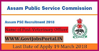 Assam Public Service Commission Recruitment 2018-169 Fishery Development Officer, Veterinary Officer