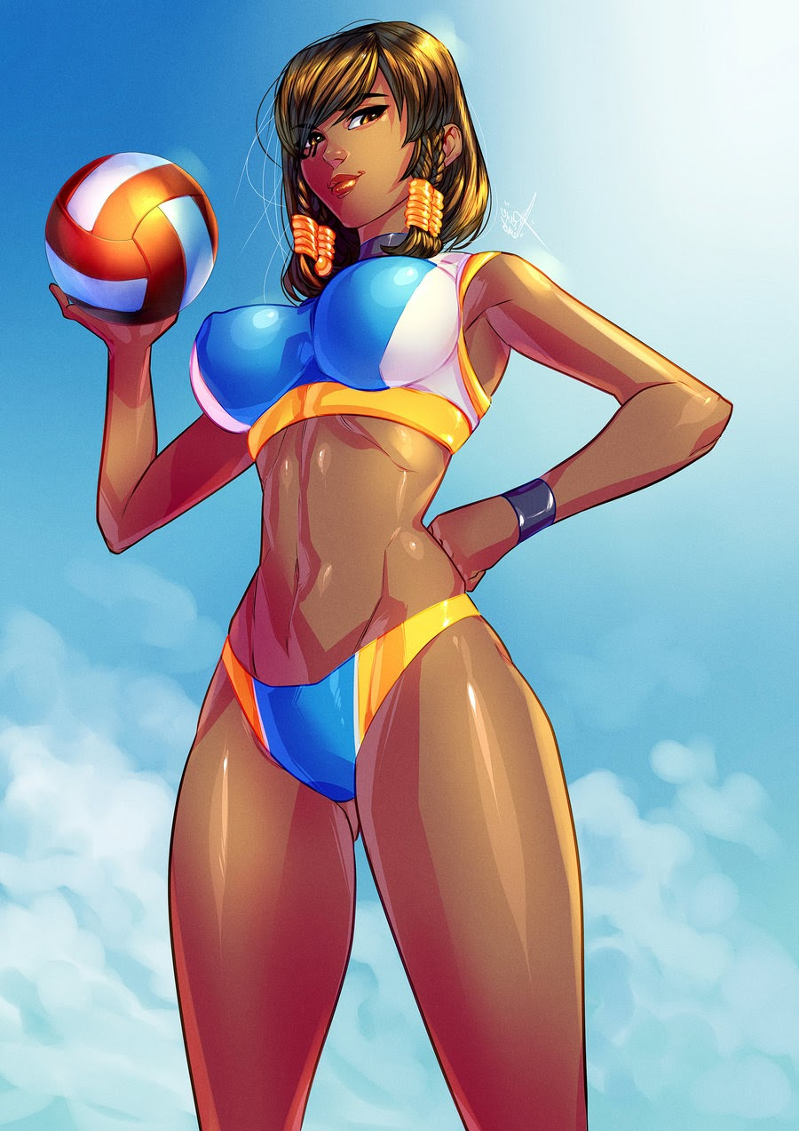 hot pharah playing volleyball at the beach