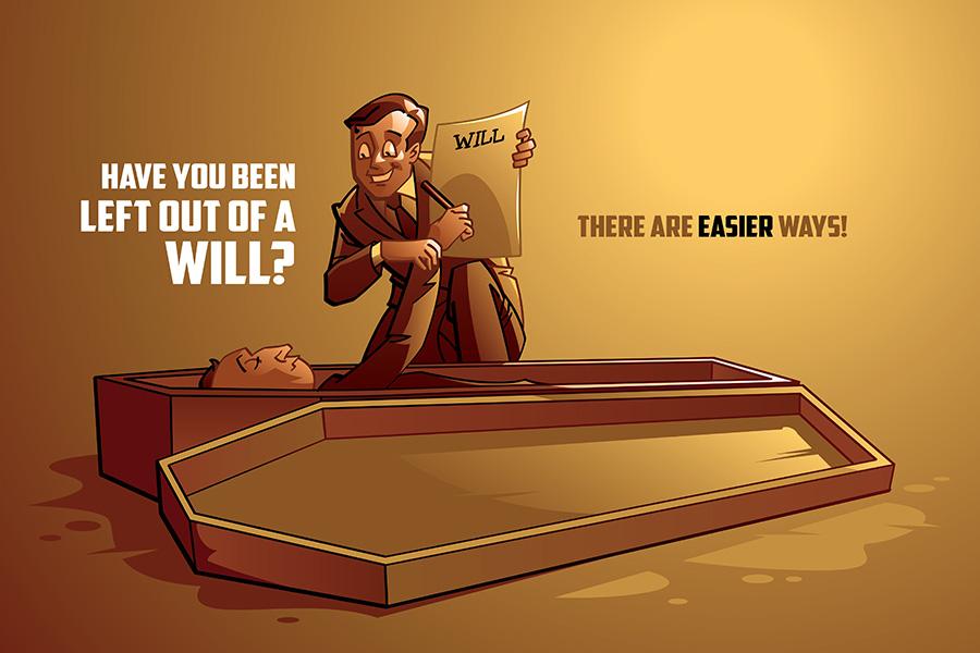 law firm website will registration cartoon illustration contest winner dead man and lawyer