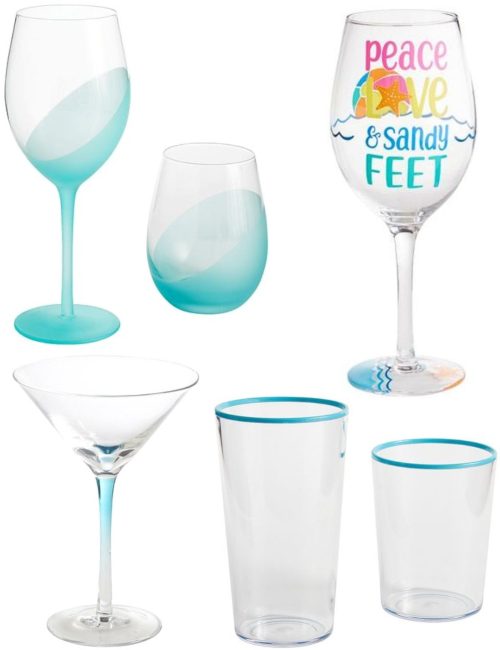 Blue Glasses and Pained Wine Glasses