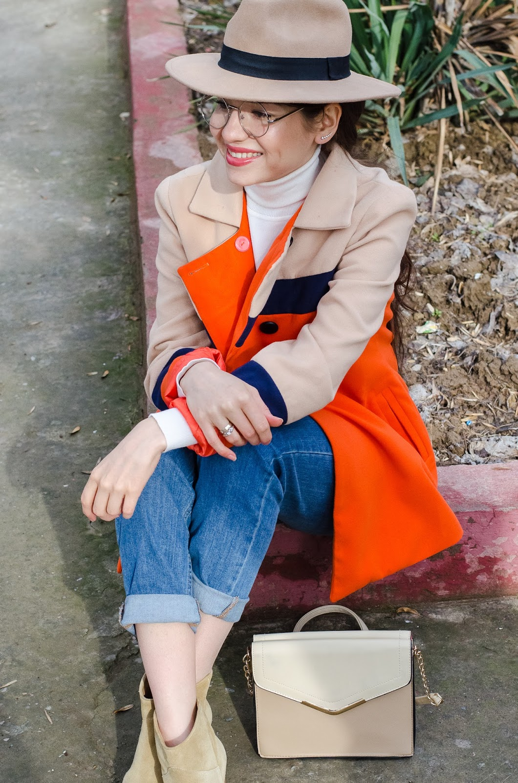 fashion blogger diyorasnotes colorblocking orange coat mom jeans asos beige hat