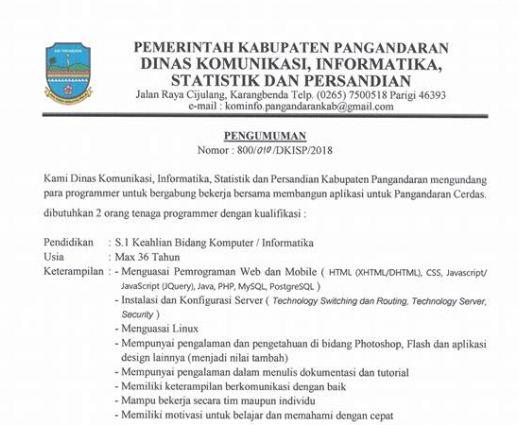 Loker Web Programmer di Kominfo Pangandaran