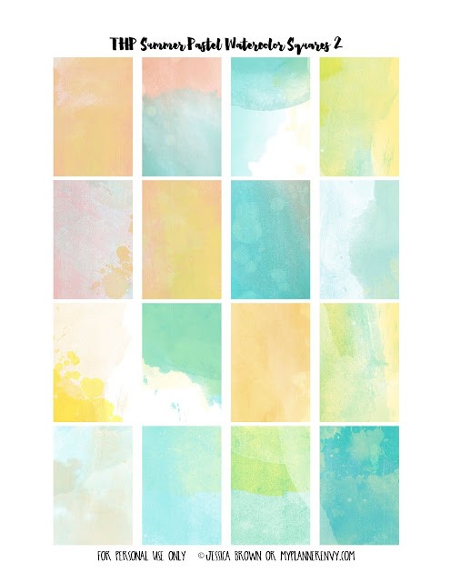 Free Printable Summer Pastel Watercolor Weekly Squares Page 2 for the Happy Planner on myplannerenvy.com