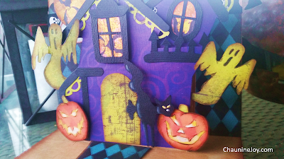 Chaunine Joy Mixed Media Halloween Haunted House Pop-up