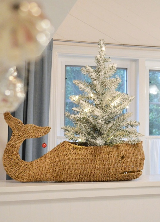 Moby Whale Basket with Christmas Tree
