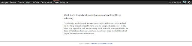 contoh Limit kuota download GoogleDrive