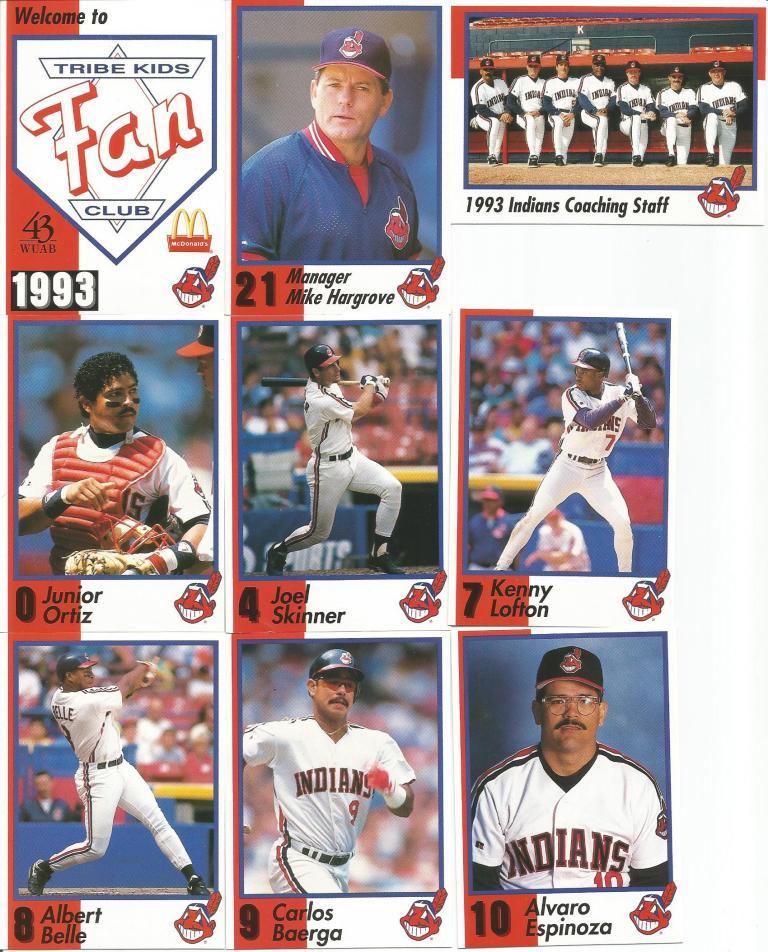 Indians Baseball Cards 1993 Wuab Mcdonalds Tribe Kids Fan