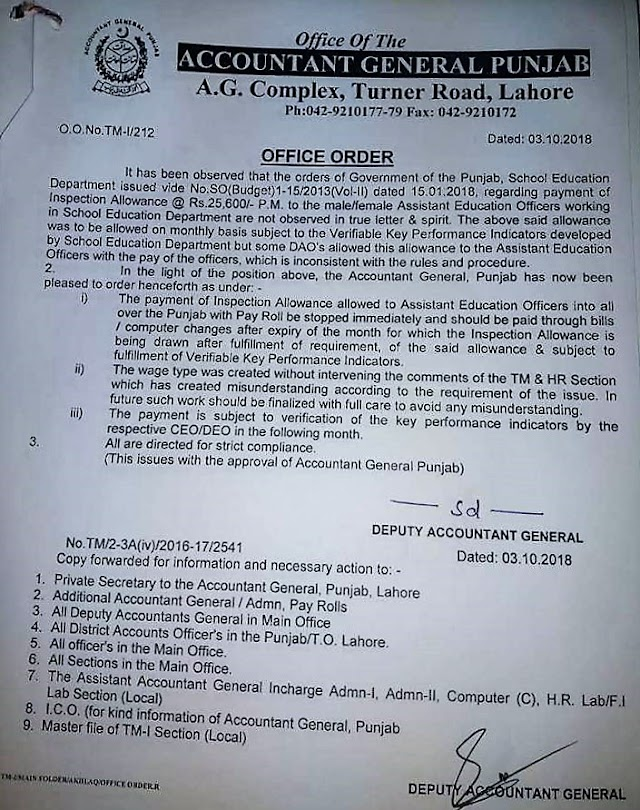 NOTIFICATION REGARDING CLARIFICATION ABOUT INSPECTION ALLOWANCE OF ASSISTANT EDUCATION OFFICERS