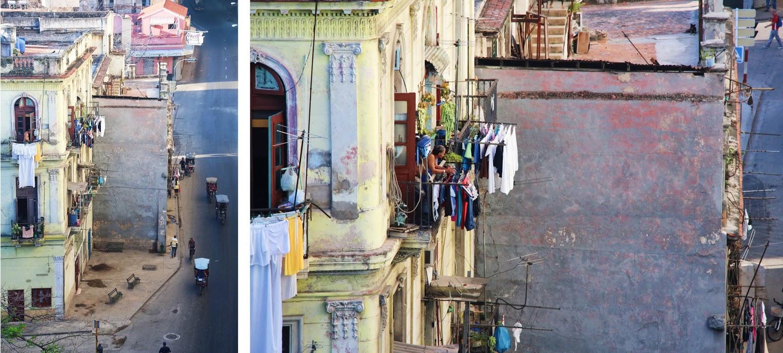 Façade d'un immeuble Cubain, et linge qui sèche aux fenêtres