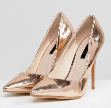 Lost Ink Gold High Heeled Pumps