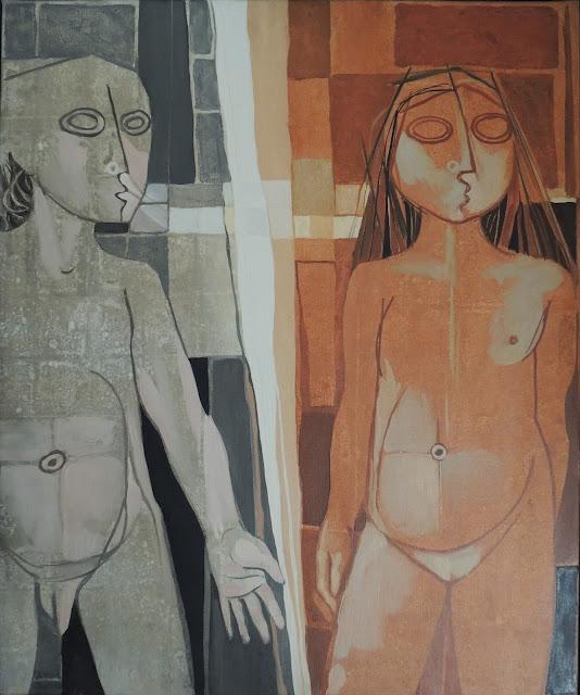 Gil Imaná pintura boliviana tradicional hombre y mujer desnudo