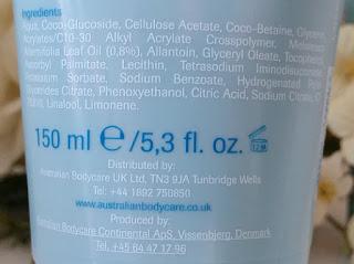 Australian Bodycare Exfoliating Body Scrub ingredients