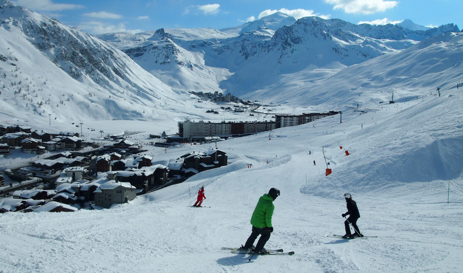Skiing in the snow sure resort of Tignes, France