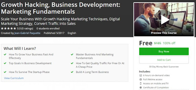 [100% Off] Growth Hacking, Business Development: Marketing Fundamentals| Worth 185$